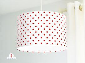 Lampe gepunktet Schlafzimmer Rot auf Weiß aus Bio-Baumwolle - alle Farben möglich