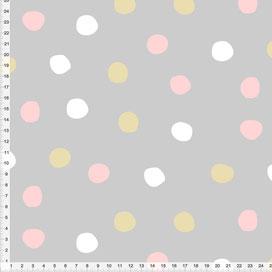 Stoff für Mädchen und Babyzimmer mit rosa, beige und weißen Punkten auf Hellgrau aus Baumwolle zum Nähen - andere Farben möglich
