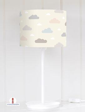 Lampenschirm für Tischlampe Wolken Baby aus Baumwolle - alle Farben möglich