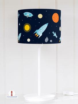 Tischlampe Kinderzimmer Weltraum in Dunkelblau aus Baumwolle - alle Farben möglich