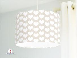 Lampe Kinderzimmer Mädchen weiße Herzen auf Beige aus Bio-Baumwollstoff - alle Farben möglich