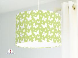 Lampe Kinderzimmer Mädchen Schmetterlinge Hellgrün aus Bio-Baumwolle - alle Farben möglich