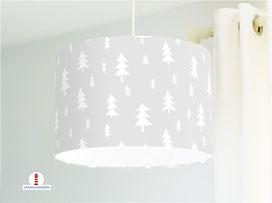 Kinderzimmer Lampe Wald Bäume Hellgrau aus Baumwollstoff - alle Farben möglich