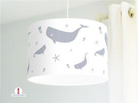 Deckenlampe mit Walen in Grau aus Bio-Baumwolle