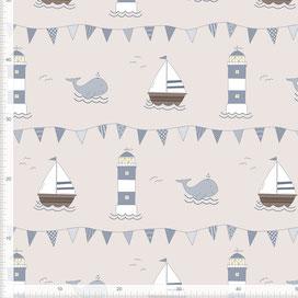 Stoff für Kinderzimmer und Babys in maritimem Design zum Nähen - andere Farben möglich