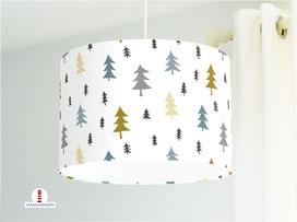 Kinderzimmer Lampe Wald Bäume Ocker Graublau aus Baumwollstoff - alle Farben möglich