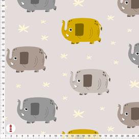 Bio-Stoff Kinderzimmer mit Elefanten aus Baumwolle - alle Farben möglich