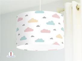 Kinderzimmer Lampe Wolken pastell aus Bio-Baumwollstoff - alle Farben möglich