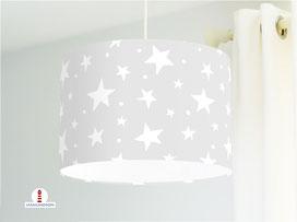 Lampe Sterne auf Hellgrau Kinderzimmer aus Bio-Baumwolle - alle Farben möglich