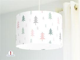 Kinderzimmer Lampe Wald Bäume Altrosa Mint aus Baumwollstoff - alle Farben möglich