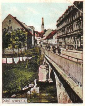 Der öffentliche Trocken- und Bleichplatz an der Röder-Brücke Stolpener Straße (alte AK, um 1908)