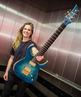 sevenstring blue custom guitar merel bechtold delain mayan vandermeij magistra custom guitar