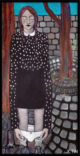 peinture d'une petite fille fermant les yeux dans une cour d'école, par xtin