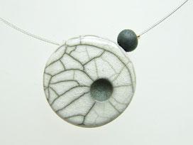 collier en céramique raku blanc craquelé