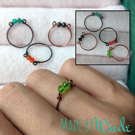 Dainty crystal rings are made of ParaWire with two perfectly sized crystal beads wrapped at the top.