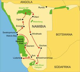 Karte Namibia Privatreise 18 Tage