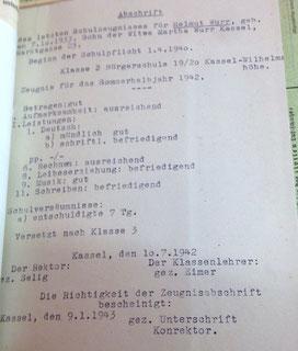 Helmuts Zeugnis am Ende der 2. Klasse