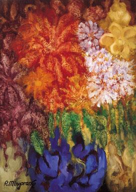 Las híbridas violáceas, recatadas y silientes en su crecimiento - 32 x 45 cm - óleo/Dmp  Guillermo R. Mingorance