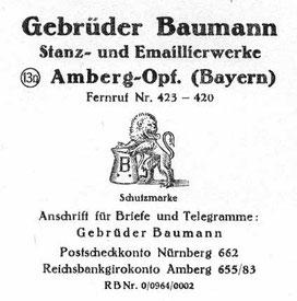 Schriftkopf der Firma um 1940 (ein Firmenpapier-Blatt lag in einem Katalog):