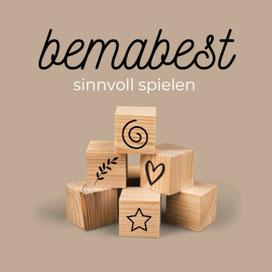 bemabest Logo Bausteine mit Spirale, Blatt, Herz und Stern