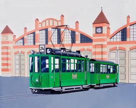 Der Trammotorwagen Nr.150 auf der Linie 24 vor dem Depot Wiesenplatz 1969, 80x100. Das war über ein halbes Jahrhundert lang der klassische Zweiwagenzug in Basel