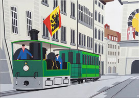 Das Dampftram in Bern, 70x50, 2020