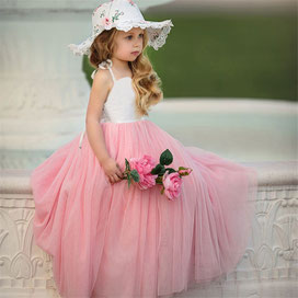 Pink flower girl dress with roses and hat