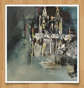 Mein Köln 30 x 30cm Acryl auf Leinwand - Sonderanfertigung für Kölner Stadtwohnung - verkauft -