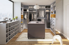 ©Ambiance Dressing, le Dressing U graphis blanc ilot central anthracite
