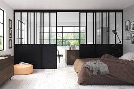 ©Coulidoor - séparation de pièce verrière coulissante duo 4 partitions noir mat