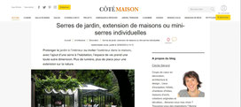 Les serres de jardin par L'Atelier des Serres citées dans la webzine CotéMaison.fr