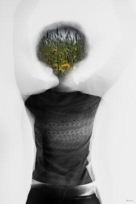 Frühling im Kopf (Fotomontage)