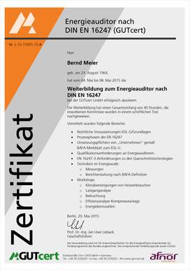 Bernd Meier, Energieauditor nach DIN EN 16247
