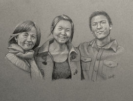 happy asian family christmas portrait in pencil