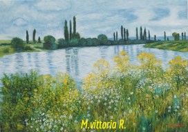 view in vetheuil, C. Monet, oil on canvas cm 50x70
