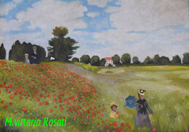 Poppies,  C.Monet, oil on canvas cm 50x70, 2013
