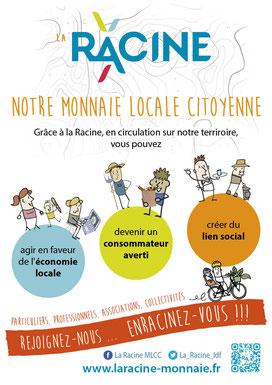 Affiche pour le déploiement de notre monnaie locale citoyenne La Racine (2018)