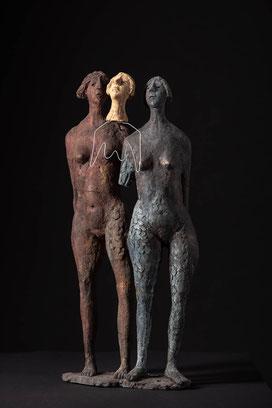 Skulptur, schwarzer Ton, Heinz Hermentin