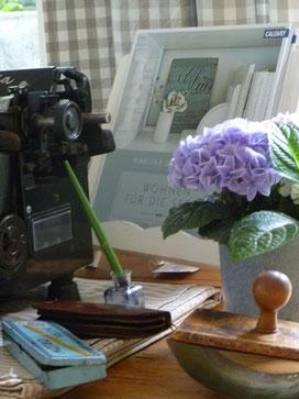 Harmonie ausstrahlen. Die Komination von Alt & Neu, Farben und Formen macht das Stilleben perfekt. Shabby  Dekorationen für Haus, Hof und Garten in der Sternschnuppe home & garden.