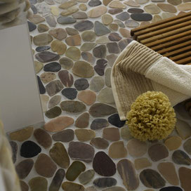 mosaico sassi su rete - Mosaix