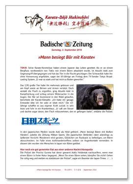 Karate Erlach, Badische Zeitung, Mann besiegt Bär mit Karate
