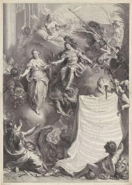 Edelinck d'après Le Brun, Thèse de Colbert de Croissy, burin, 1680, tirage du Rikjsmuseum