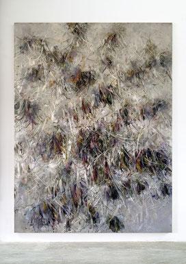 Blossoms Fall II 2020 Kunstharz, Steinmehl, Acrylfarbe, Ölfarbe auf Leinwand 210 x 160 cm
