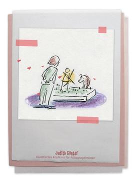 Zeichnung Frau Hund Garten - Judith Ganter - Illustriertes Kopfkino für Alltagsoptimisten - Tagebuchprojekt Achtsamkeit - 9 KREATIVE IDEEN FÜR MEHR ACHTSAMKEIT IN DEINEM ALLTAG - INSPIRATION fürs TAGEBUCH