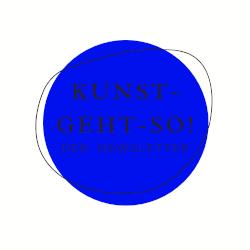 Logo, Newsletter, blauer Kreis mit gezeichnetem Kreis. Schrift: Kunst-geht-so! - der Newsletter