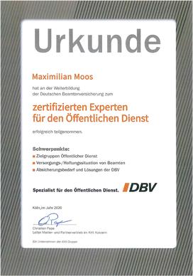 Max Moos Urkunde DBV