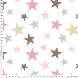 Bio-Stoff für Kinderzimmer mit Sternen in Altrosa und Graubraun zum Nähen - alle Farben möglich