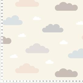 Stoff für Babys und Kinderzimmer mit Wolken in Pastell auf Beige zum Nähen aus Baumwolle - alle Farben möglich