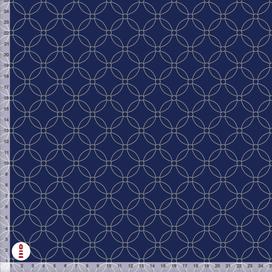 Stoff für Schlafzimmer mit Muster in dunklem Blau aus Baumwollstoff - alle Farben möglich