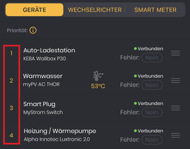 Prioritäten der eingebundenen Geräte (Ansicht App)